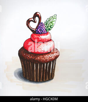 Cupcake-Abbildung mit Beeren und Kekse - Stockfoto