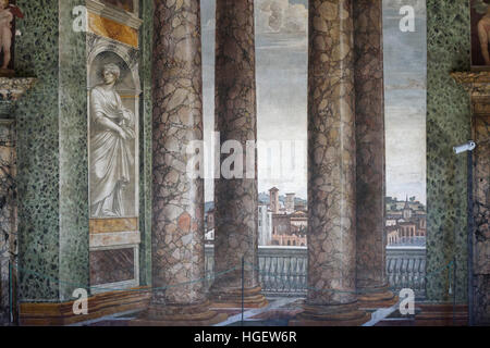 Rom. Italien. Villa Farnesina. La Sala Delle Prospettive (Halle der Perspektiven), Fresken von Baldassare Peruzzi, - Stockfoto