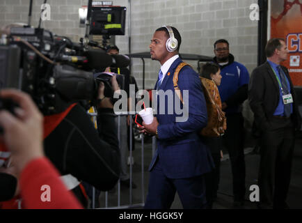 Tampa, USA. 9. Januar 2017. Clemson Tigers Quarterback Deshaun Watson (4) tritt das Stadion vor dem College Football - Stockfoto