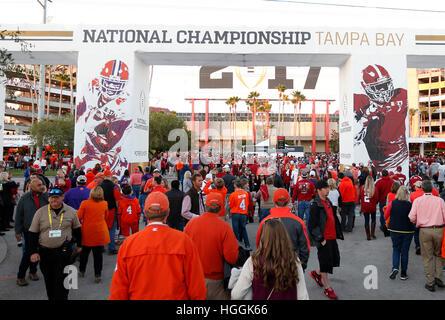 Florida, USA. 9. Januar 2017. Clemson und Alabama bereiten Anspiel im College-Football-Meisterschaft im Raymond - Stockfoto