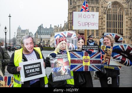 """London, UK. 23. Januar 2017. Pro-Austritt-Aktivisten besuchen eine """"Austritt friedliche laut und stolz"""" Rallye von - Stockfoto"""
