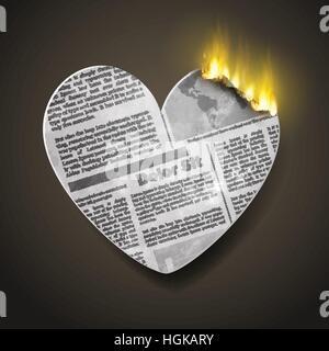 brennende Zeitung Herz - Stockfoto
