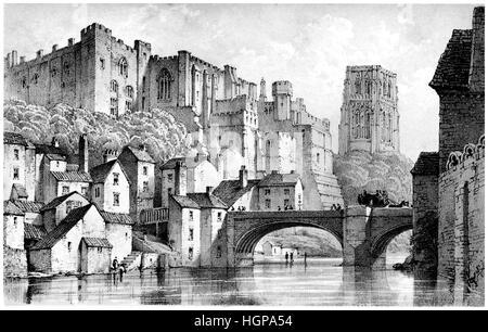 Eine Lithographie von Durham in hoher Auflösung aus einem Buch gescannt veröffentlicht 1846. CYP63N ist eine farbige - Stockfoto