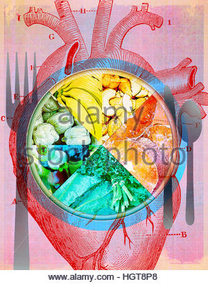 Teller mit verschiedenen Arten von gesunden Lebensmitteln über Diagramm des menschlichen Herzens - Stockfoto