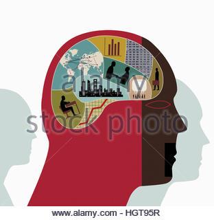 Montage von Wirtschaft, Finanzen, Daten, Verbindungen und Bildung innerhalb der Kopf des Mannes - Stockfoto