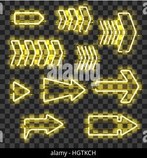 Reihe von leuchtenden Gelb Neon Pfeile auf transparenten Hintergrund isoliert. Glänzende und leuchtende Neon-Effekt. - Stockfoto