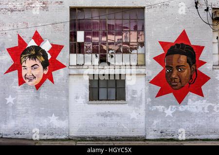 Wandmalereien auf ehemaligen Industriegebäude, Memphis, Tennessee - Stockfoto