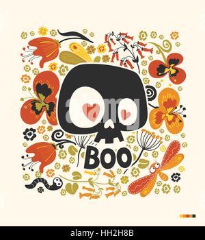 """Lustige Karikatur menschlicher Schädel Silhouette mit Herz Augen und Wort """"Boo"""" umgeben von bunten Blumen und Insekten. - Stockfoto"""