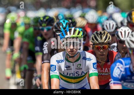 Adelaide, Australien. 17. Januar 2017. Radfahrer vom Team UNISA (UNA) in Phase 1 der Santos Tour Down bis 2017. - Stockfoto