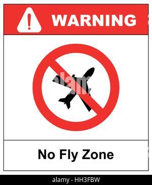 Keine Banner fliegen Zone. Keine fliegen auf weißem Hintergrund, verbieten Zeichen Vektor im roten Kreis - Stockfoto