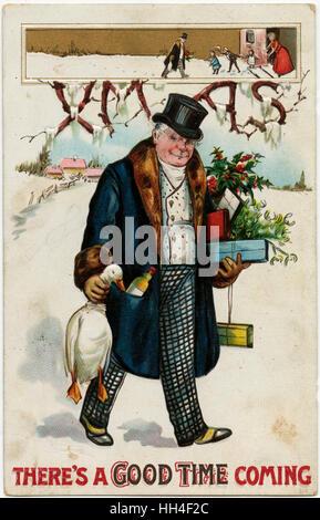 Es ist eine gute Zeit kommen. Jolly Gentleman-Köpfe zu Weihnachten mit einer Vielzahl von festlichen Goodies, wie eine Gans nach Hause präsentiert, Holly und Efeu, Mistel und eine Flasche etwas stark! Die kleinen Einschub Abbildung oben zeigt seine Gewißheit Stockfoto