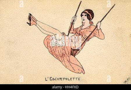 """""""Die Schaukel"""" - ein französisches Mädchen fliegen hoch und zeigt ihre Strümpfe! - Stockfoto"""