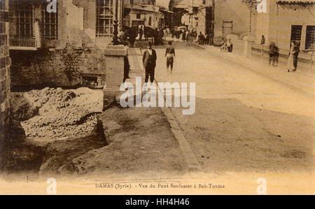 """Die Soufanieh Brücke und Tor von Bab Touma in Damaskus, Syrien. Bab Tuma (""""Thomas Tor"""") - ein Stadtteil der Altstadt - Stockfoto"""