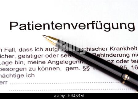 Patientenverfügung - Stockfoto
