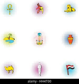 Ägypten-Republik Icons Set, Pop-Art Stil - Stockfoto