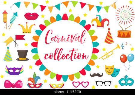Hintergrund Mit Konfetti Sterne Girlande Karneval Stockfoto Bild