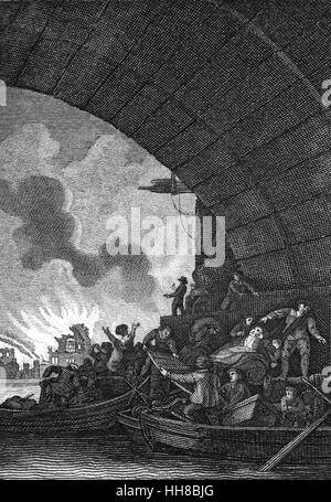 Ein Blick von der Themse von den großen Brand von London, eine große Feuersbrunst, die durch den zentralen Teilen - Stockfoto