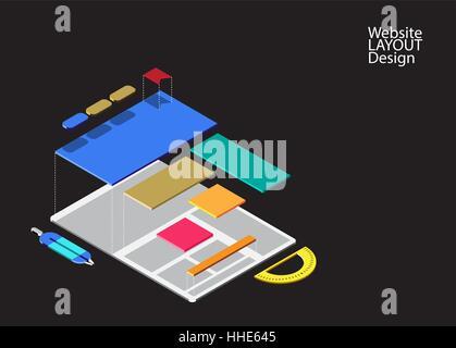 Website Drahtmodell Vorlage und Mock up Vektor Abbildung - Bild ...