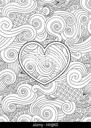 Malvorlagen mit Herz und asiatische Welle Curl Ornament ...