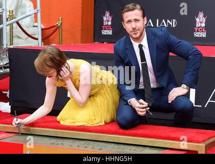 8. Dezember 2016 - Hollywood Ryan Gosling und Emma Stone - Stockfoto