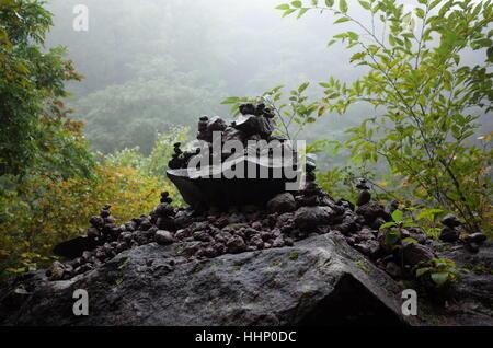 Steinchen, balancieren auf großen Felsbrocken in einem üppigen, nebligen Wald in Japan - Stockfoto