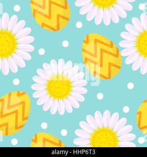 Süße Ostern Musterdesign mit Eiern und Kamille, endlosen Hintergrund. Urlaub-Hintergrund, Textur, digitales Papier. - Stockfoto