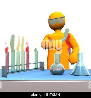 Schreibtisch, Chemiker, Rohre, Test, prüfen, Prüfung, Probe, Chemie, Werkbank, - Stockfoto