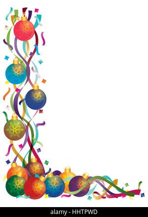 Urlaub, Ornament, Schneeflocken, festlich, neues Jahr, Weihnachten, Konfetti, Bänder, - Stockfoto