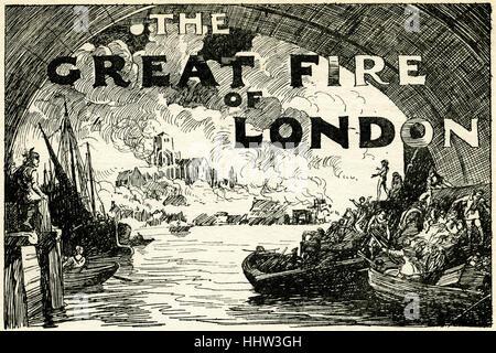 Der große Brand von London.  2 September - 5. September 1666. - Stockfoto
