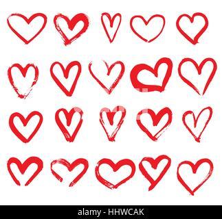 Satz von Hand gezeichnete Herzen. Rote Farbe. Vektor-Illustration. - Stockfoto