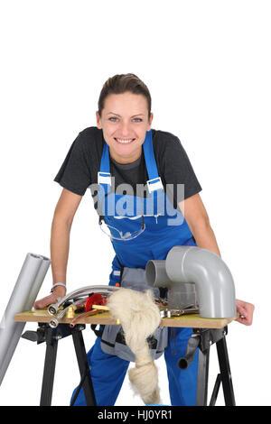 Frau, Weiblich, stehend, Sitz, Bank, Klempner, Sanitär, schiefen, Arbeit, Frau, - Stockfoto