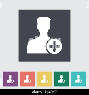 Zu Freunden hinzufügen. . Flache einzelnes Symbol. Vektor-Illustration. - Stockfoto