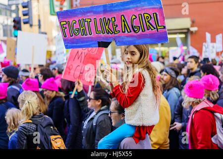 Los Angeles, Kalifornien, USA. 21. Januar 2017. Besondere Frauen März Veranstaltung und Demonstranten am 21. Januar - Stockfoto
