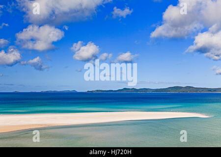 Coral Sea Great Barrier Riff Whitsundays Inseln Whitehaven Beach weißen Quarzsand und sauberes Wasser an einem sonnigen - Stockfoto