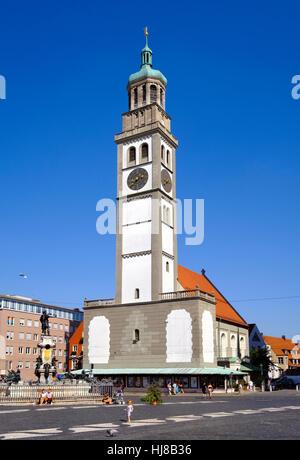 Perlachturm und Augustus-Brunnen, Rathausplatz, Rathausplatz, Augsburg, Schwaben, Bayern, Deutschland - Stockfoto