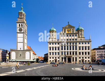 Perlachturm und das Rathaus am Hauptplatz, Augsburg, Schwaben, Bayern, Deutschland - Stockfoto