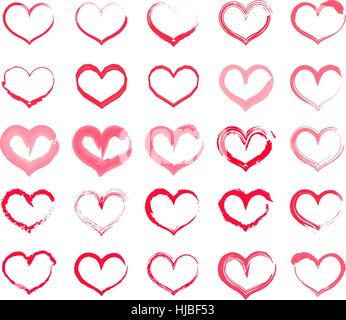 Grunge-Herz-Set. Sammlung von Hand Zeichnung Herzen mit verschiedenen Werkzeugen wie Pinsel, Kreide, Tusche, Aquarell. Vektor-Illustration.