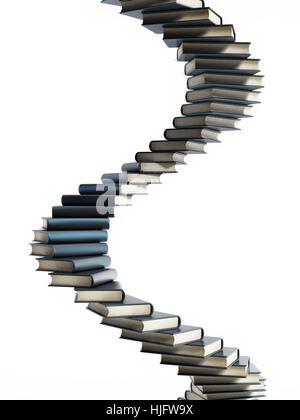 Spiralförmige Treppe geformt Multi farbige Bücher. 3D Illustration ...