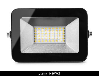 Vorderansicht des LED Fluter isoliert auf weiss - Stockfoto