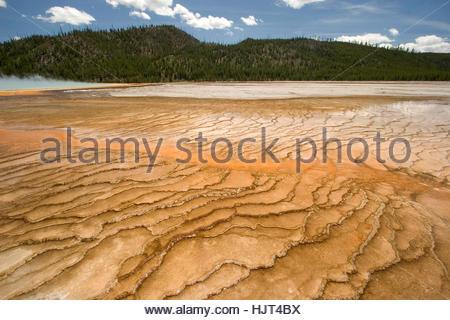 Thermische Funktion im Bereich Grand Bildobjekte Spring im Yellowstone-Nationalpark, Wyoming. - Stockfoto