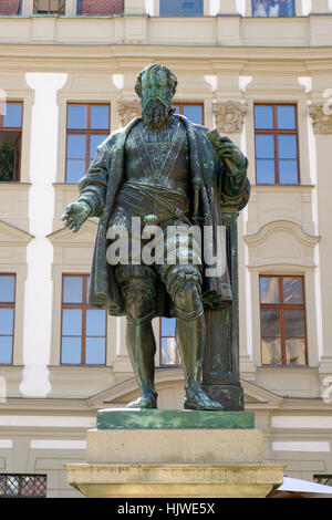 Statue Hans Jakob Fugger, Fugger Denkmal am Fuggerplatz, Augsburg, Schwaben, Bayern, Deutschland - Stockfoto