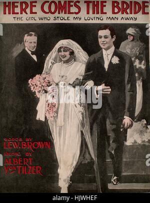 """Titelbild der Noten des Liedes """"Hier kommt die Braut (The Mädchen, stahlen meine liebevollen Mann Away)"""", mit ursprünglichen - Stockfoto"""