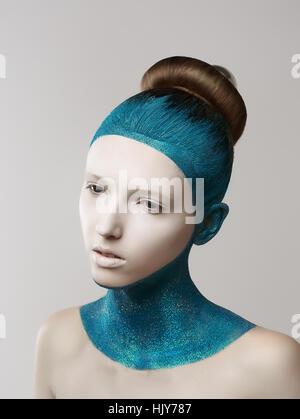 Frau, blau, Kunst, Mode, Farbe, Modell, Entwurf, Projekt, Konzept, Plan, - Stockfoto