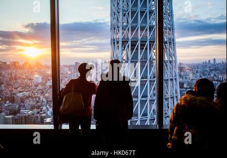 Stadtbild, Sonnenuntergang, Detail der Tokyo Tower und Skytree nördliche Skyline der Stadt, Tokio, Japan - Stockfoto