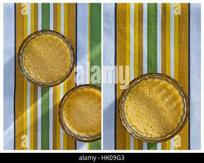 Collage aus zwei vertikalen Bildern der hausgemachte Crème Brûlée, platziert auf einem gestreiften grünen, gelben - Stockfoto
