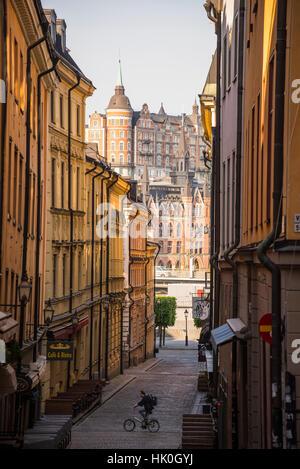 Mariaberget und Gamla Stan, Stockholm, Schweden, Scandinavia - Stockfoto