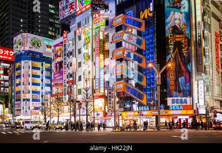 Stadtbild, Street Scene, Chuo-dori Straße, Akihabara, Tokio, Japan. - Stockfoto