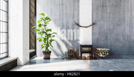 3D gerenderte Szene des kleinen Holzheizung Holzofen im Zimmer neben Stapel von Protokollen. Große Wände Leerzeichen - Stockfoto