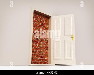 Offenen Tür zur Mauer. 3D Illustration. - Stockfoto