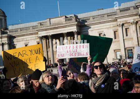 Frauen Marsch auf London, Anti-Trump Protest, London, UK. 21.01.2017 - Stockfoto